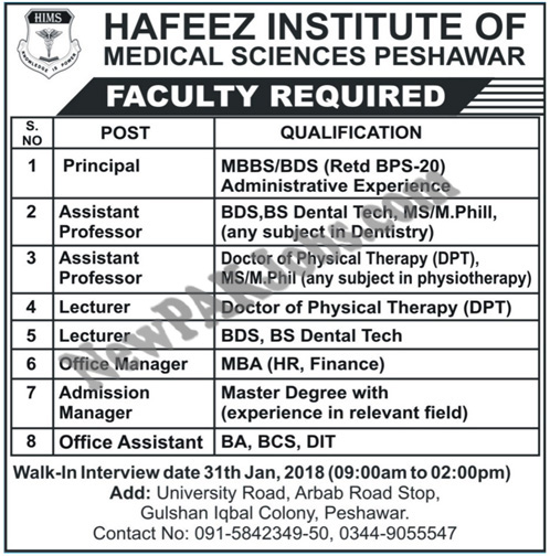 Hafeez Institute of Medical Sciences Peshawar Walk in Interview