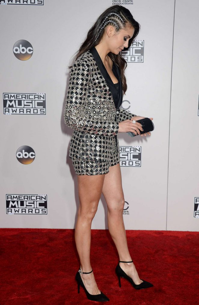 Nina Dobrev bedazzles in short suit at the 2016 American Music Awards