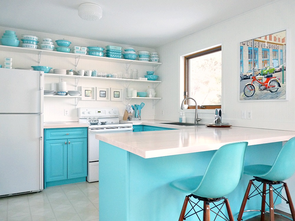 Aqua Kitchen Cabinets