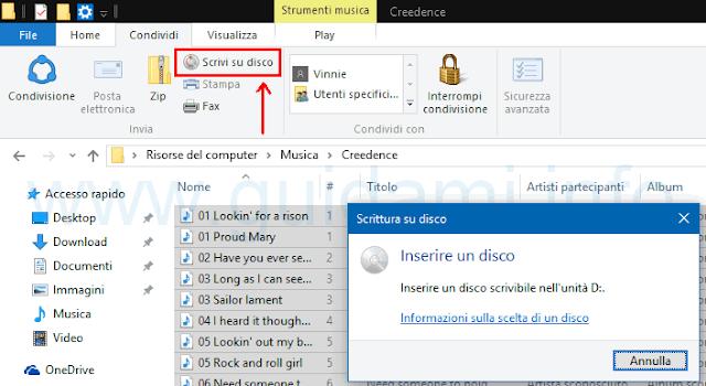 Windows 10 scrivi su disco file selezionati