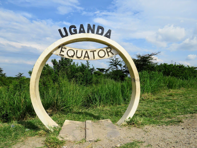 Equator marker near Queen Elizabeth National Park in Uganda