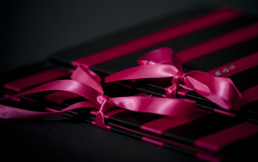 Creative Expressions Black Linen and Fuschia Satin Elegance