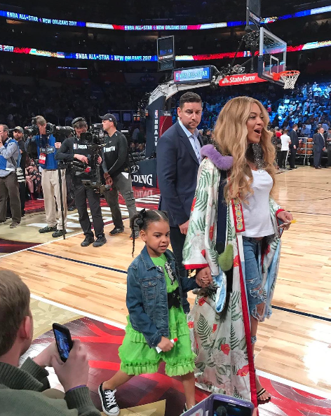 Jay Z Beyonce And Blue Ivy At The Nba Allstar Game