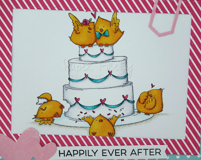 Wedding card using Stamping Bella wedding chicks