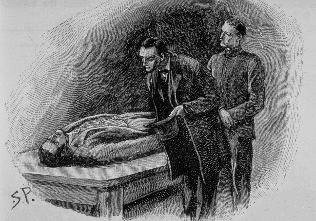 "Sherlock Holmes looks over a body in ""The Reigate Squire"" as illustrated by Sidney Paget"