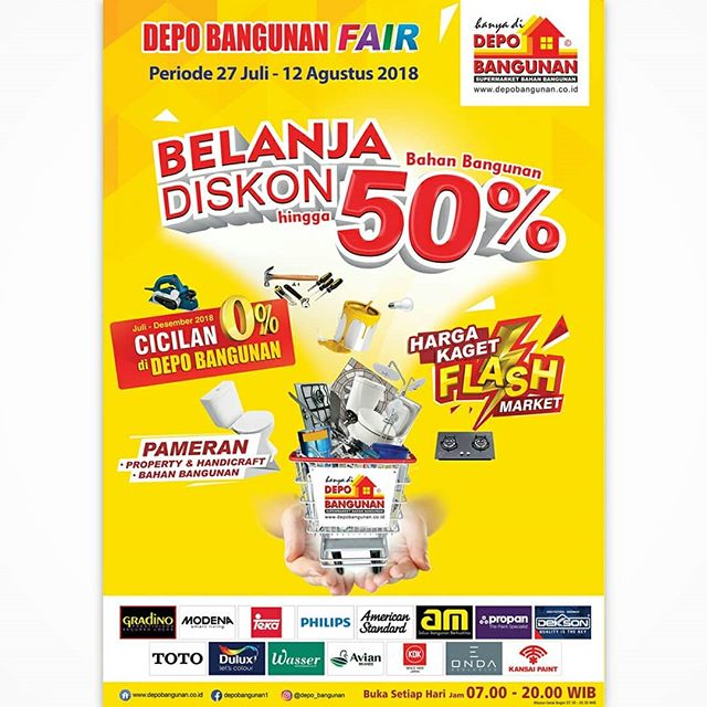 Depo Bangunan - Promo Belanja Diskon s.d 50% (s.d 12 Agustus 2018)