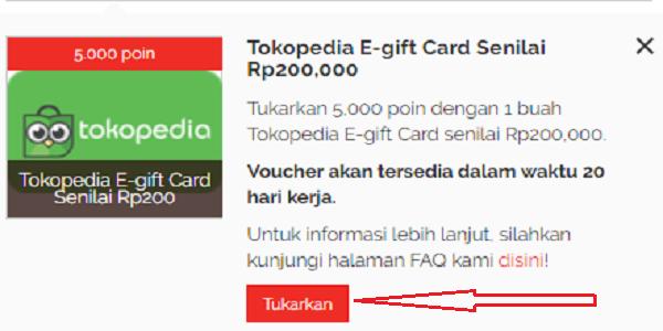 cara menukarkan Voucher Gift Card Tokopedia di yougov