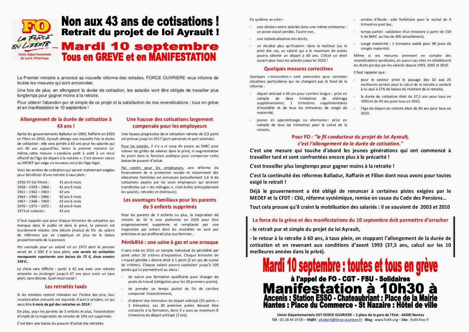 Fo Loire Atlantique Non Aux 43 Ans De Cotisations Retrait Du