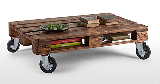 Add some wheels to this recycled pallet for a simple coffee table