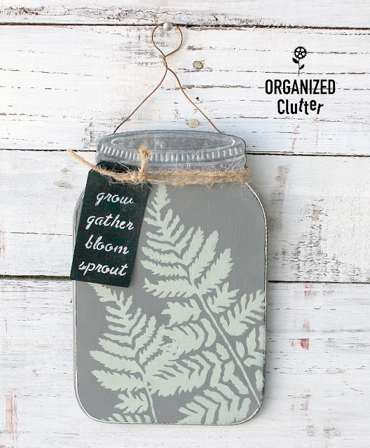 Upcycled Dollar General Mason Jar Shaped Sign #stencil #upcycle #fern