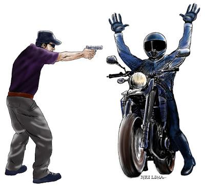 Bandido atrapalhado rouba bolsa da mulher e a vítima rouba sua moto