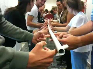 team building, vocal leader, leadership, helium stick, activity