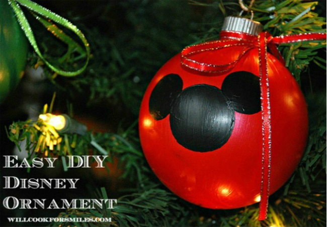 diy mickey and minnie ornaments sweet art - Homemade Mickey Mouse Christmas Decorations