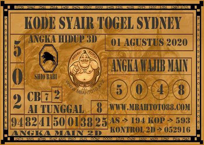 Kode syair Sydney Sabtu 1 Agustus 2020 145