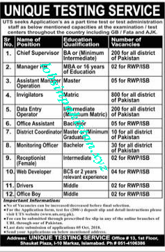 UTS Jobs In Pakistan 2018 Advertisement