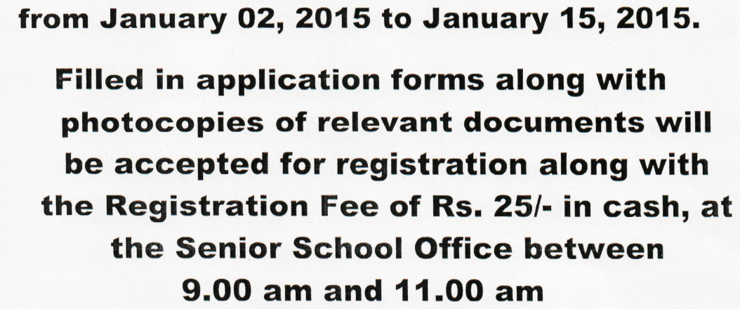 Nursery Admission 2015-16 St. Xavier's Senior Secondary