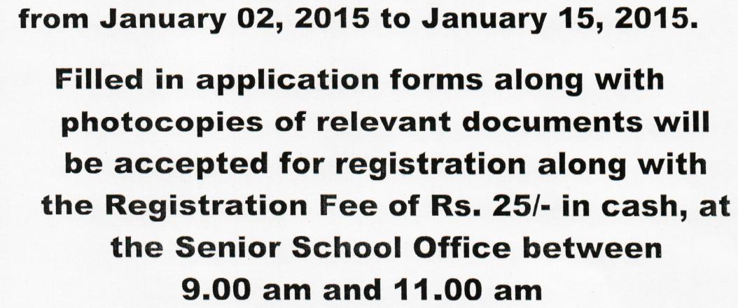 Nursery Admission 2015-16 St. Xavier's Senior Secondary
