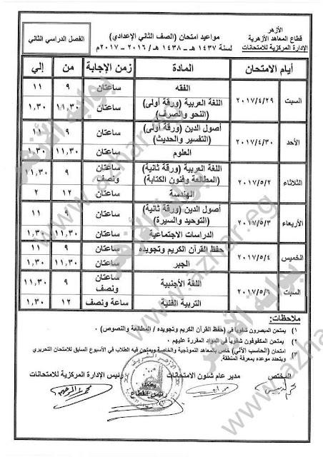 جدول إمتحانات الصف الاول والثانى والثالث الاعدادى الازهرى 2017 أخر العام