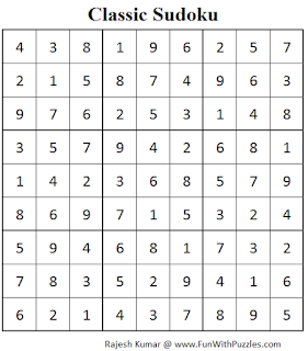 Standard Sudoku (Fun With Sudoku #56) Solution