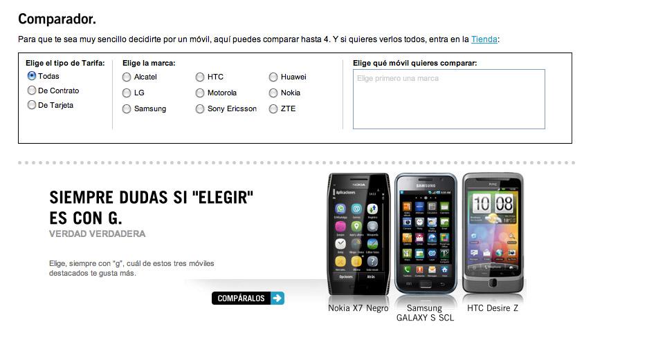 193293154b7 Yoigo ha estrenado un nuevo apartado en su página web; el comparador de  móviles. Al igual que el comparador de la revista, permite comparar las ...