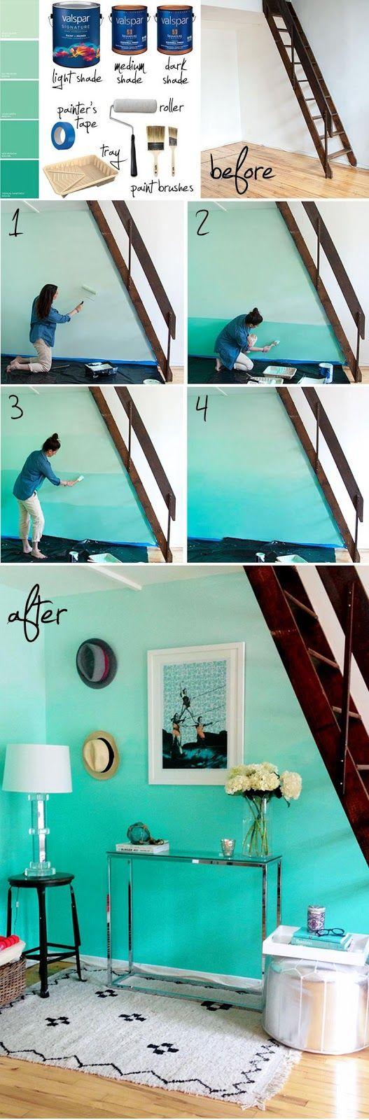 Passo a passo de como fazer pintura ombré na parede