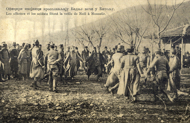 Serbian officers and soldiers celebrate Christmas Eve (January 6th 1913) in Bitola - First Balkan War