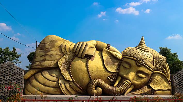 Ikon Patung Ganesha Tidur di Desa Banjerejo Grobogan