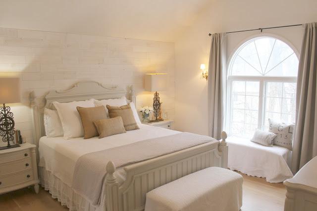 Modern farmhouse white and grey master bedroom in Hello Lovely Studio Fixer Upper
