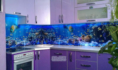 oceanic 3D murals for glass kitchen backsplash designs