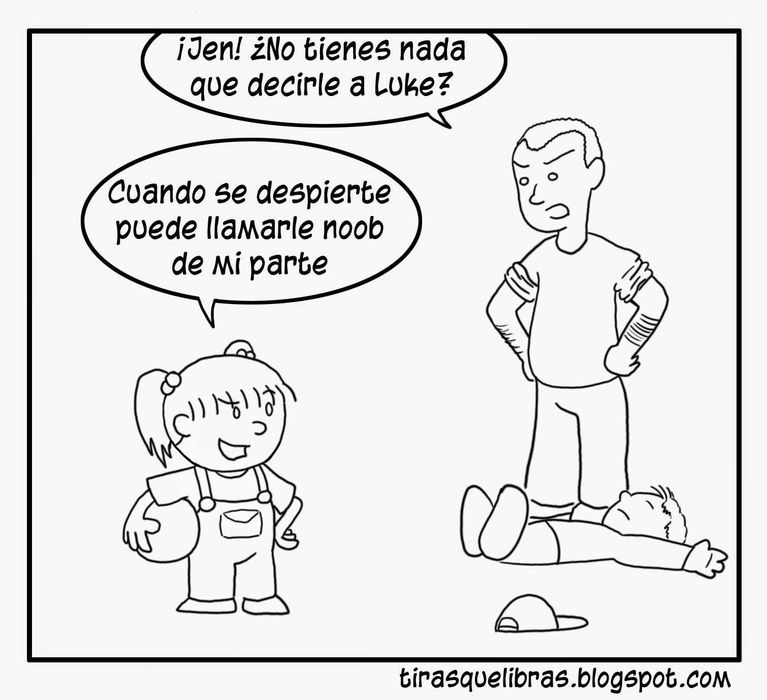 webcomic, Jen final partido de Dodgeball, le da un balonazo a Luke