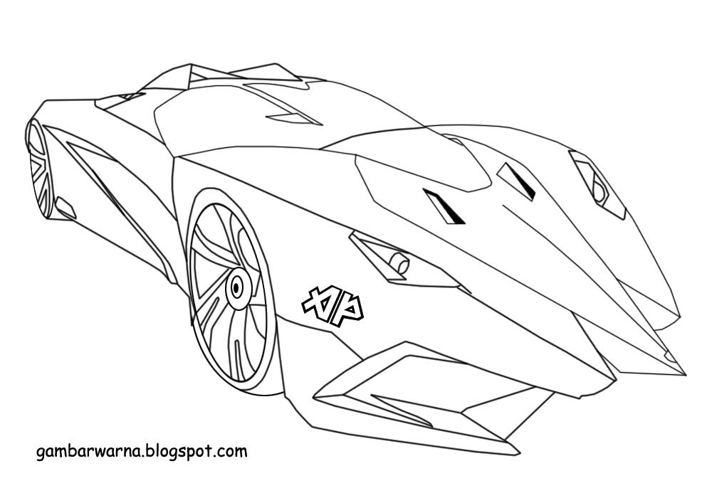 Mewarnai Mobil Sport Lamborghini  Belajar Mewarnai Gambar
