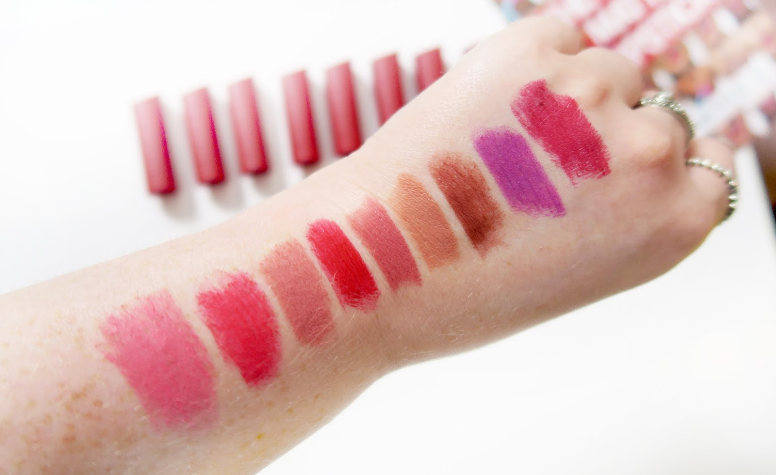 photo of nine swatches of Rimmel Only 1 Matte Lipstick