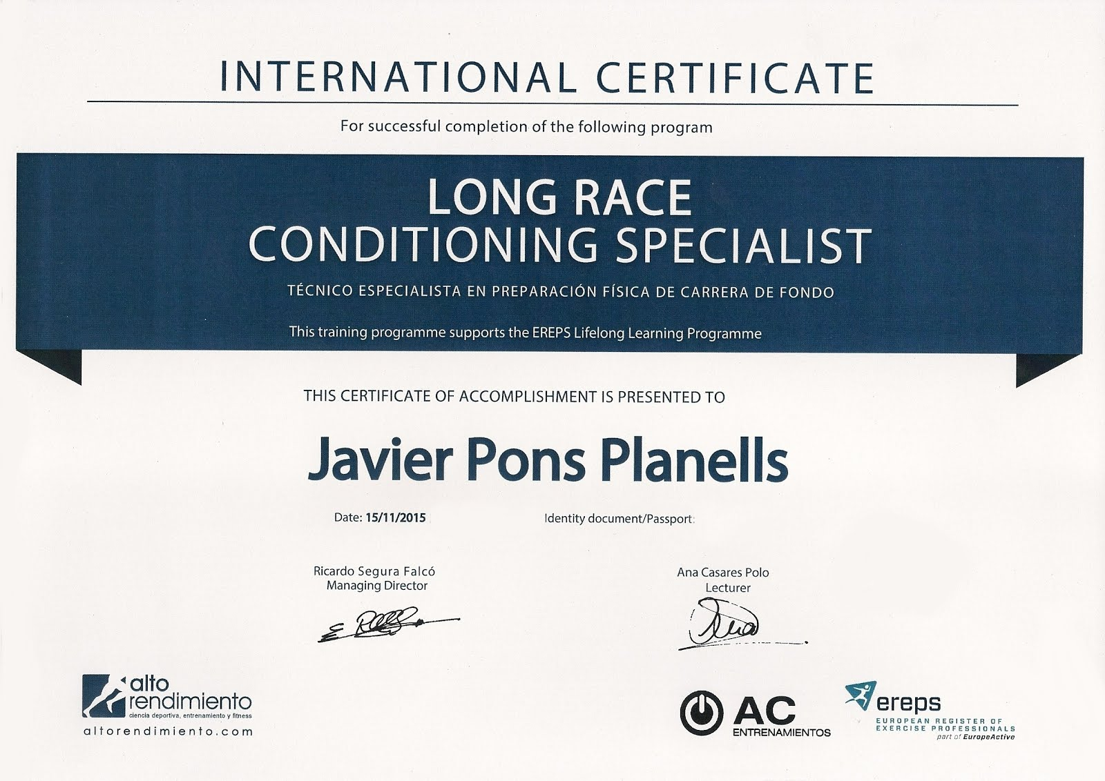 INTERNATIONAL CERTIFICATE LONG RACE CONDITIONING SPECIALIST