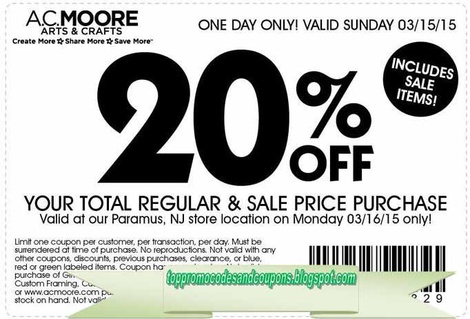 picture relating to Ac Moore Printable Coupon named No cost Promo Codes and Discount coupons 2019: AC Moore Discount codes