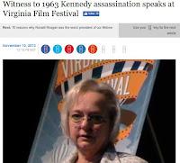 Tina Towner Pender JFK assassination Virginia Film Festival