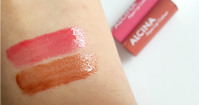 Swatches: Waterlily Water Reed ALCINA - Summer Breeze Makeup Collection - Aqua Lip Colour Lip Gloss - UVP je 10,95 EUR