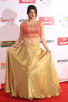 Harshika Ponnacha in orange blouuse brown skirt at Mirchi Music Awards South 2017 ~  Exclusive Celebrities Galleries 090.JPG