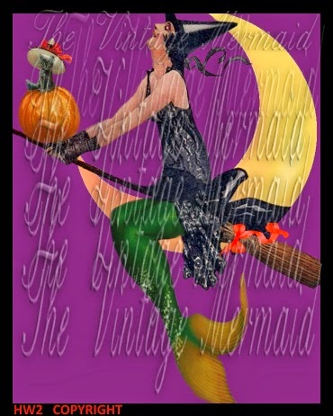 fabric block halloween mermaid moon witch on broom