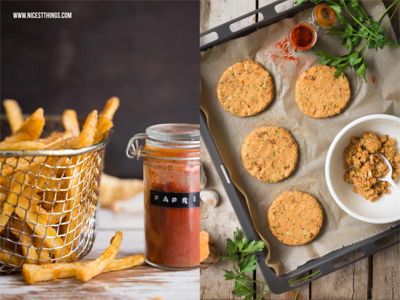 vegane Burger Patties mit Suesskartoffeln und Kichererbsen