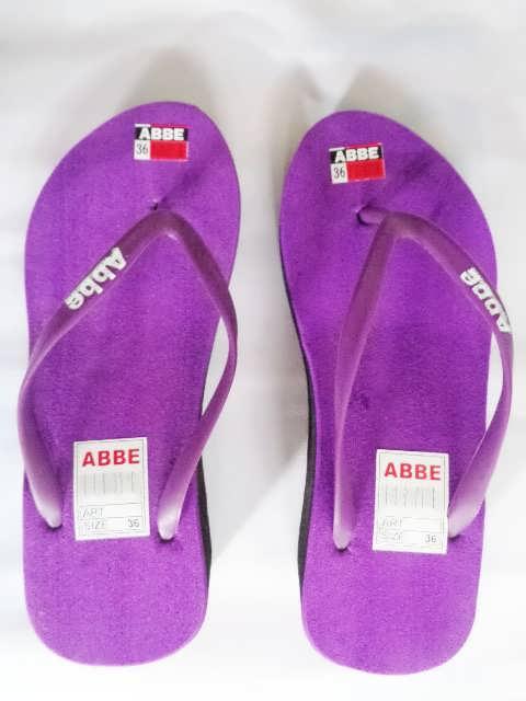 sandal jepit abbe tebal wanita ungu
