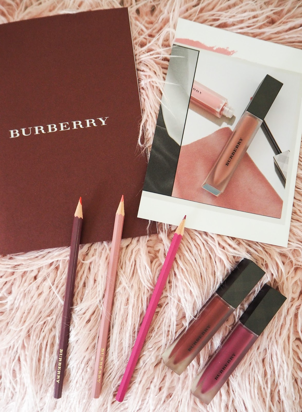 Burberry Lip Velvet Liquid Lipstick in the shades, Fawn, Bright Plum and Oxblood