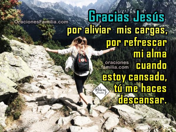 Oración cristiana corta de la mañana dando gracias a Jesús, me hace descansar, da paz, me ayuda, oración bonita a Jesús en este buen día, por Mery Bracho.