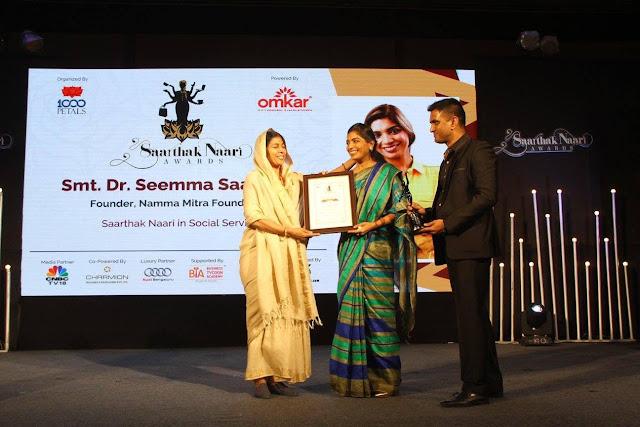 """Prestigious Award """"SAARTHAK NAARI"""" Confered to Dr Seema Saadikha"""
