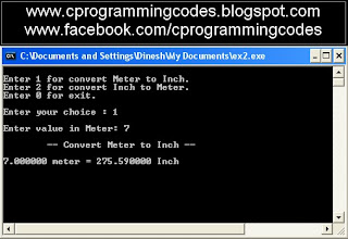 Output of convert Meter to Inch C program