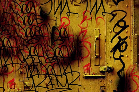 yellow door, graffiti, urban, contemporary, photography,