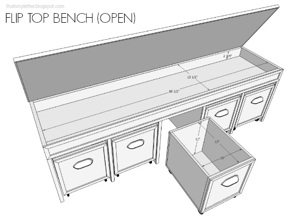 DIY flip top bench with pull out bins and free plans