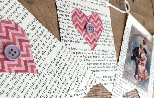 newsprint flags for valentines day using old books