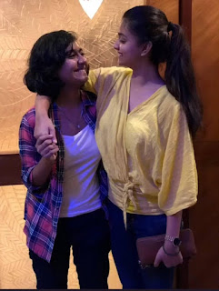 Keerthy Suresh in Yellow Dress with Cute and Awesome Smile with her Lovely Sister