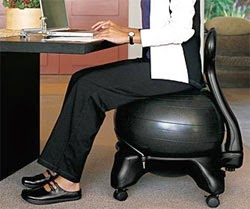 Gaiam Balance Ball Chair, review,  helps to relieve back pain while sitting at a desk for long hours