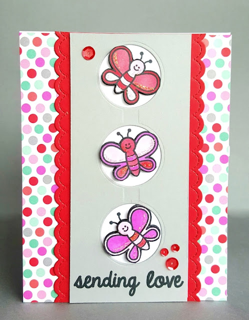 Sunny Studio Stamps: Backyard Bugs Valentine's Day Sending Love Butterfly Card by Lenae @sugargems
